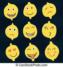 set, iconen, gele, smileys, citroenen, emoties