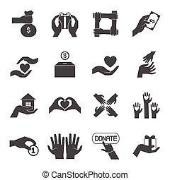 set, iconen, geven, lang, black , handen
