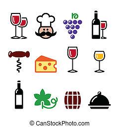 set, iconen, -, glas, kleurrijke, wijntje