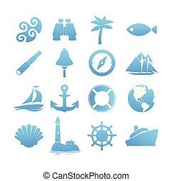 set, iconen, groot, reizen, vakantie, nautisch