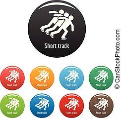 set, iconen, hardloop wedstrijd, kort, kleur, vector