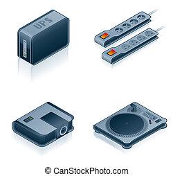 set, iconen, -, hardware, computer, ontwerp, 55i, communie