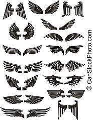 set, iconen, heraldisch, vector, black , vleugels