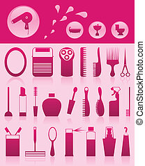 set, iconen, illustratie, thema, vector, bathroom.