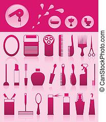 set, iconen, illustratie, thema, vector, bathroom.