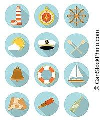 set, iconen, illustratie, vector, nautisch, shadow.