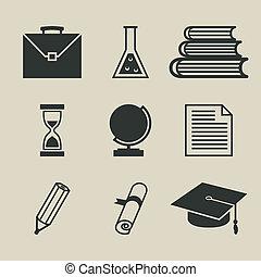 set, iconen, -, illustratie, vector, opleiding