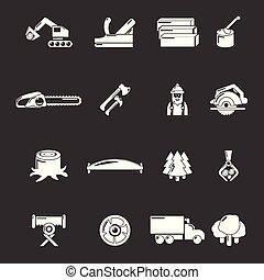 set, iconen, industrie, grijze , vector, hout
