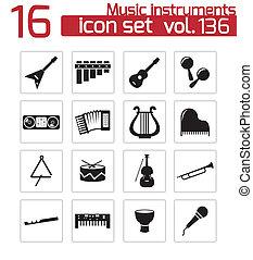 set, iconen, instrumenten, vector, black , muziek