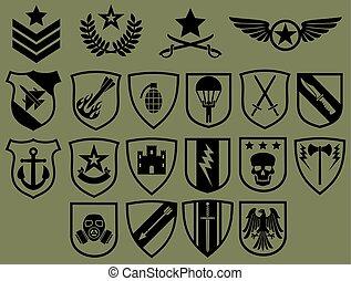 set, iconen, jas, armen, (army, symbolen, collection), militair, emblems