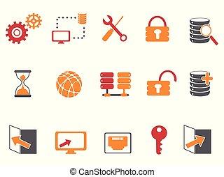 set, iconen, kleur, databank, sinaasappel, technologie, rood