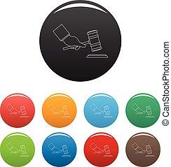 set, iconen, kleur, hand, vector, gavel