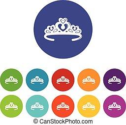 set, iconen, kleur, kroon, vector, prinsessenkroon