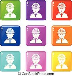 set, iconen, kleur, mijnwerker, verzameling, negen