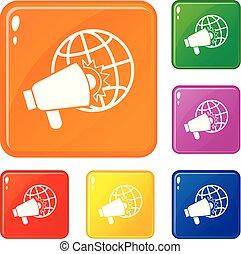 set, iconen, kleur, vector, megafoon, luid