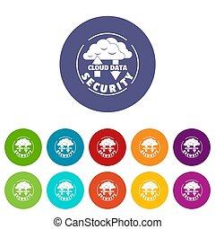 set, iconen, kleur, veiligheid, data, wolk