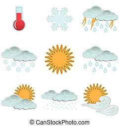 set, iconen, kleur, weer, isolat, dag