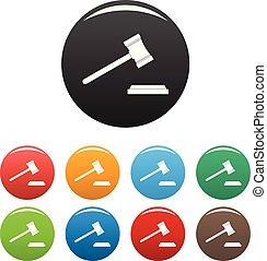 set, iconen, kleur, wettelijk, vector, gavel