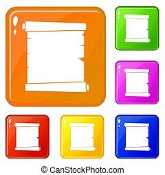 set, iconen, kleuren papier, retro, boekrol