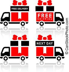 set, iconen, -, kosteloos, levering truck, rood