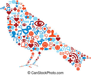 set, iconen, media, samenstelling, sociaal, vogel