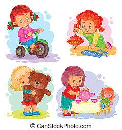 set, iconen, meiden, speelgoed, kleine, spelend