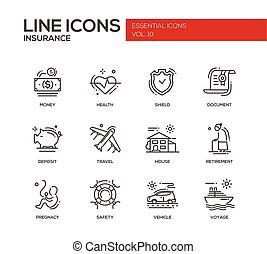 set, iconen, -, ontwerp, lijn, verzekering, types