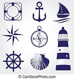 set, iconen, ouderwetse , etiketten, communie, ontwerp, nautisch