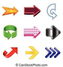 set, iconen, pijl, realistisch, vector, ontwerp
