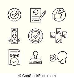 set, iconen, postzegel, -, versie, handtekening, goedkeuring...