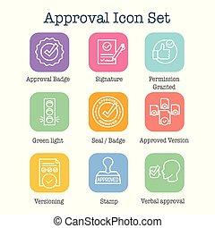 set, iconen, postzegel, &, versie, handtekening, goedkeuring...