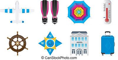 set, iconen, reizen, vrijstaand, achtergrond., vector, witte