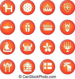 set, iconen, reizen, zweden, vector, rood