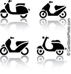 set, iconen, scooter, -, bromfiets, vervoeren