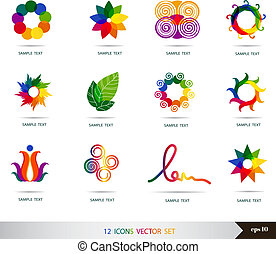 set, iconen, set., vector, ontwerp, vector., communie, art.