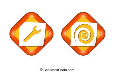 set, iconen, spiraal, twee, papier, moersleutel