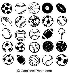 set, iconen, sporten, symbolen, bal, komisch
