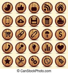 set, iconen, textuur, knopen, hout, sociaal