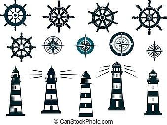 set, iconen, themed, vector, nautisch, marinier, of