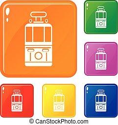 set, iconen, tram, kleur, vector, vooraanzicht