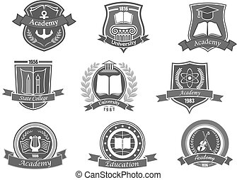 set, iconen, universiteit, emblems, vector, universiteit, of