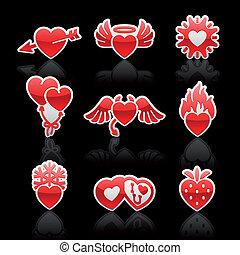 set, iconen, valentine, hartjes, dag, rood