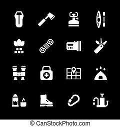 set, iconen, van, kamperen
