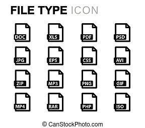 Set, iconen,  Vector, bestand, lijn,  type