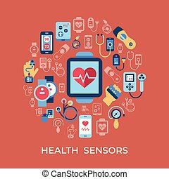 set, iconen, vector, gezondheid, digitale , sensor