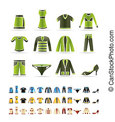 set, iconen, -, vector, kleding, pictogram