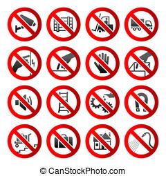set, iconen, verboden, symbolen, industriebedrijven, gevaar, tekens & borden