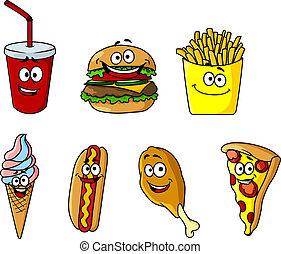 set, iconen, voedingsmiddelen, takeaway, spotprent, vrolijke...