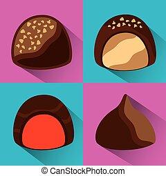 set, iconen, voedingsmiddelen, zoet, chocolade, cacao