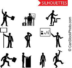 set, iconen, vrijstaand, silhouettes, vector, black , zakenman